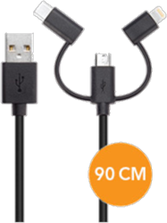 XQISIT 3in1 microUSB/USB Type-C/Lightning 2.0 Charge and Sync Cable (90cm)
