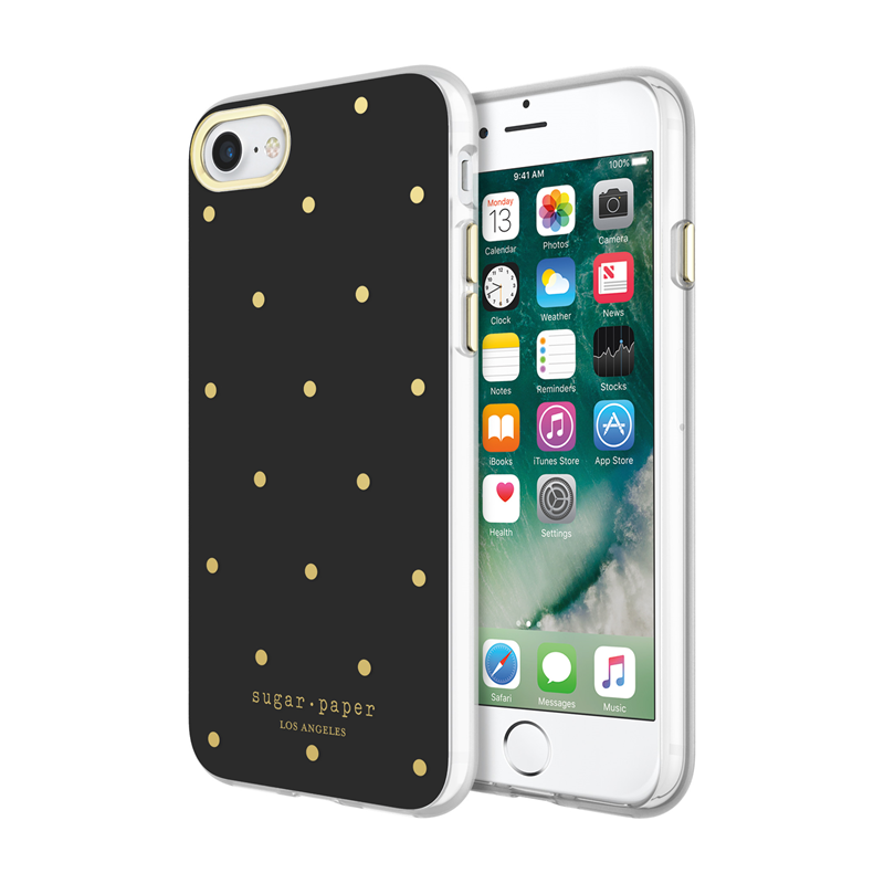 the latest 4a7ff 0689b iPhone 7 Sugar Paper Dot Case - Black/Gold Price and Features