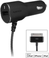 PureGear 30-pin Car Charger w/ Auxiliary USB Port