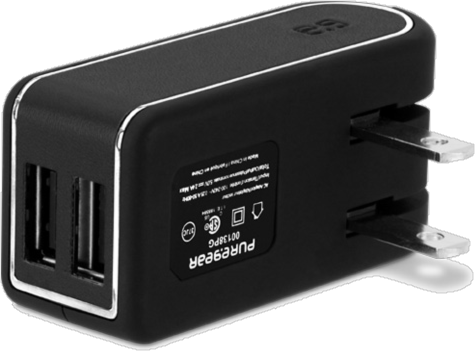 PureGear 4.8A Dual USB Travel Charger