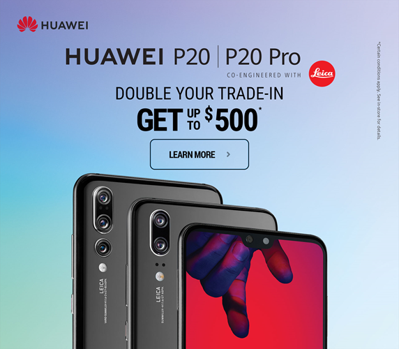 Huawei P20 Double your trade-in get up to $500