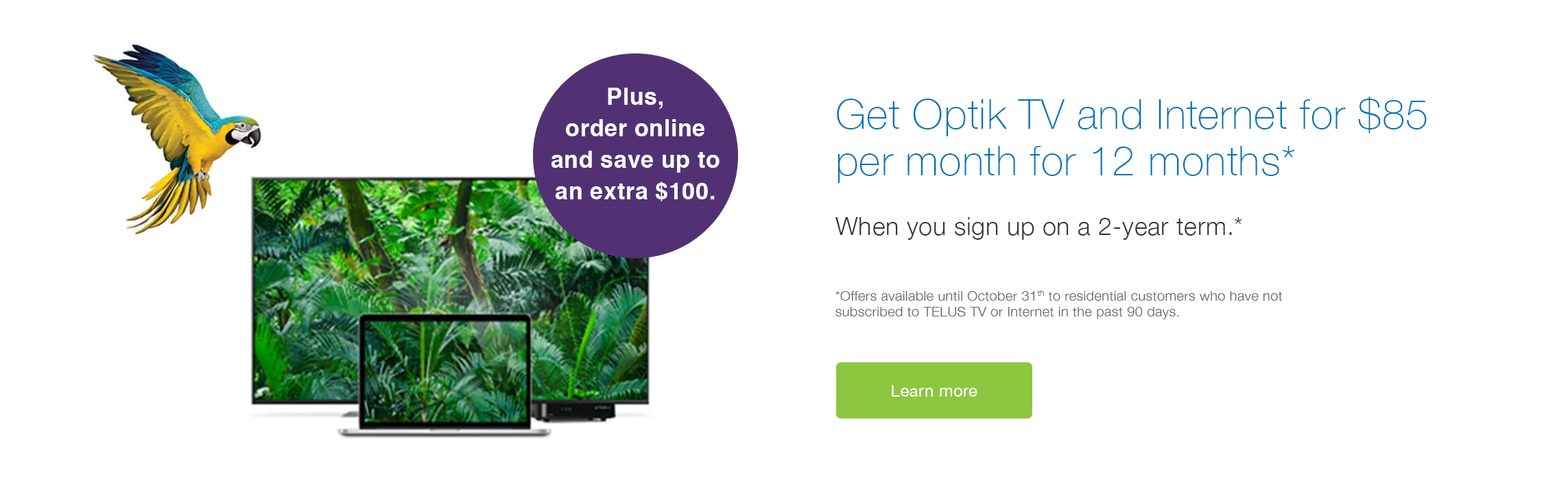 TELUS Optik TV, Essentials, 6 Theme Packs and Internet 50 for $50