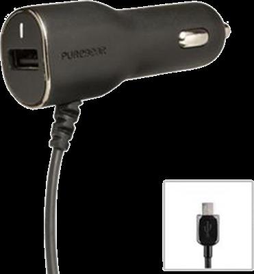 PureGear microUSB Car Charger w/ Auxiliary USB Port