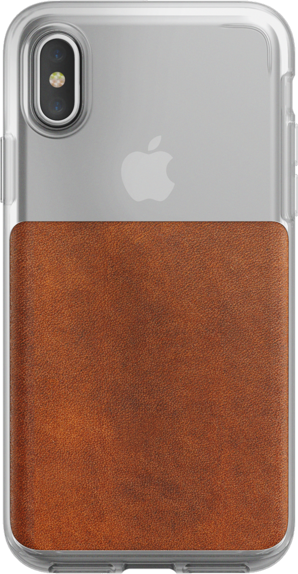 iPhone X Leather Clear Case - Brown