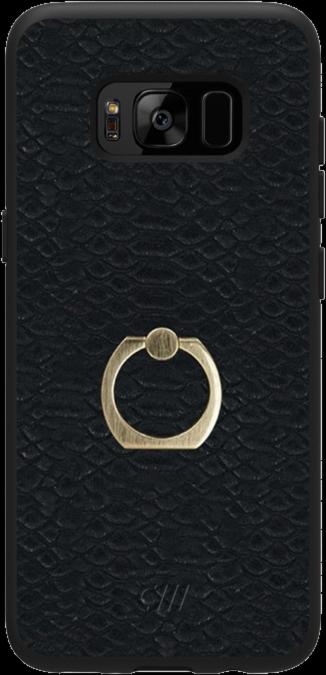 Galaxy S8+ Ring Case - Matte Black Crocodile