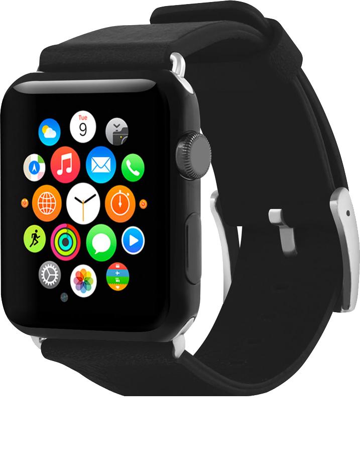 Apple Watch 38mm Premium Leather Band - Ebony