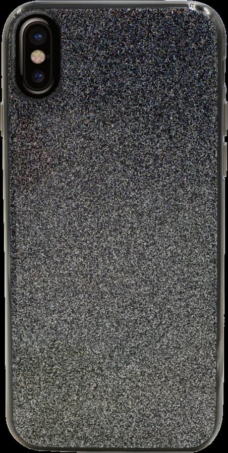 iPhone X Clear Glitter Case - Black