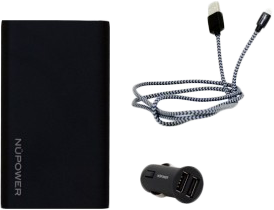 Nupower Micro USB Charging Bundle, Cable/CLA/Powerbank