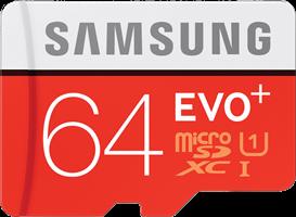 Samsung MicroSDXC EVO+ Memory Card w/ Adapter 64GB