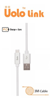 Uolo Link 3m USB C to USB A 2.0 Charge & Sync Cable
