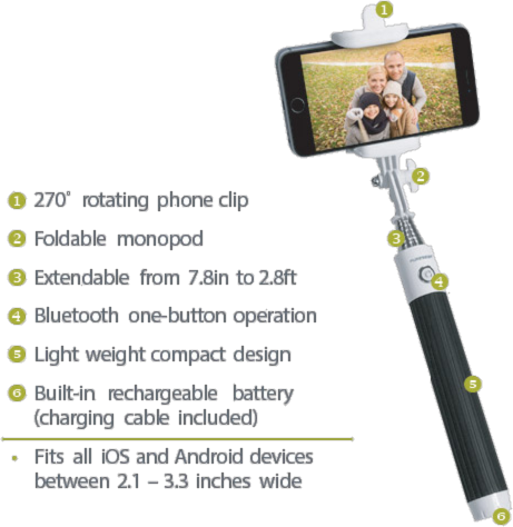 PureGear Rechargeable Bluetooth Selfie Stick Price and Features