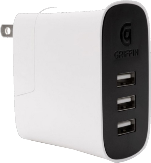 Griffin PowerBlock 3 Port Travel Charger - White/Black