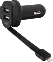 XQISIT Xqisit Dual-USB 6A Car Charger w/Integrated Lightning