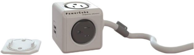 PowerCube Extended 4-Outlet 2 USB Power Bar with Power Cord