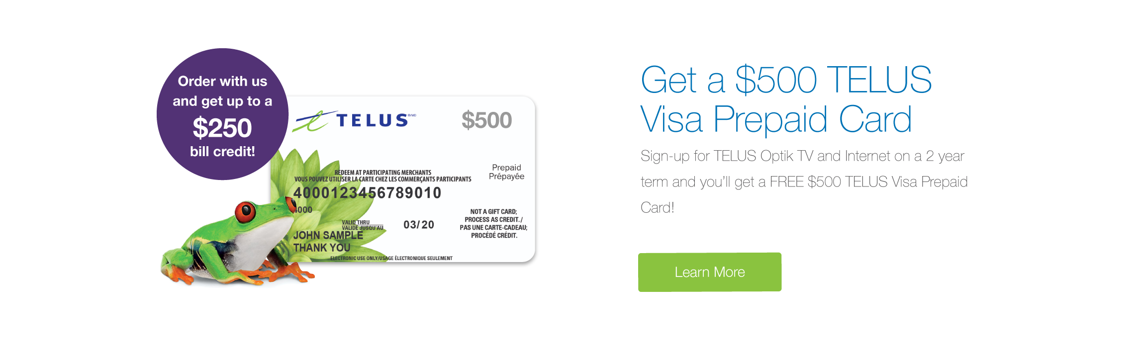 Get a $500 Prepaid Visa Card with Optik TV and Internet