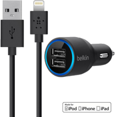 Belkin Dual Port USB Car Charger U0026 4u0027 Lightning Cable