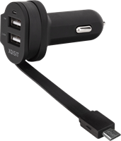 XQISIT Xqisit Dual-USB 6A Car Charger w/Integrated microUSB