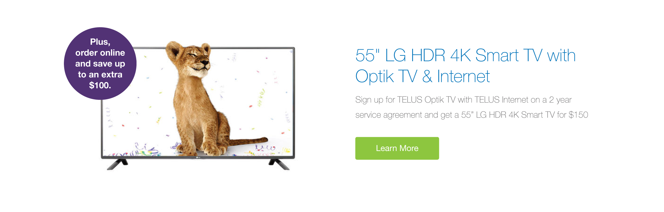 LG 4K TV with Optik TV and Internet