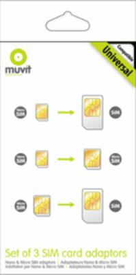 muvit Universal 3 Part SIM Card Adaptor for Nano and Micro SIM