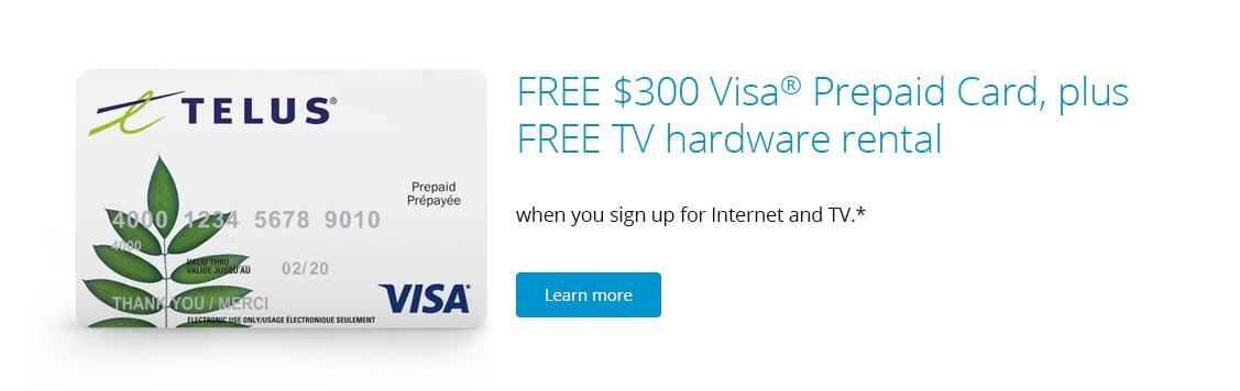 FREE $300 TELUS Visa Prepaid Card